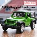 1:43 aleación tire hacia atrás coches, alta simulación modelo Jeep Wrangler, 2 puerta abierta, pintura mate de metal a troquel, automóviles de juguete, envío libre