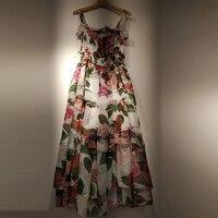 Summer Women's Dress Floral Print Ruffled Maxi Dress Silk Sling Bohemian Holiday sexy dress Robe 2019 new