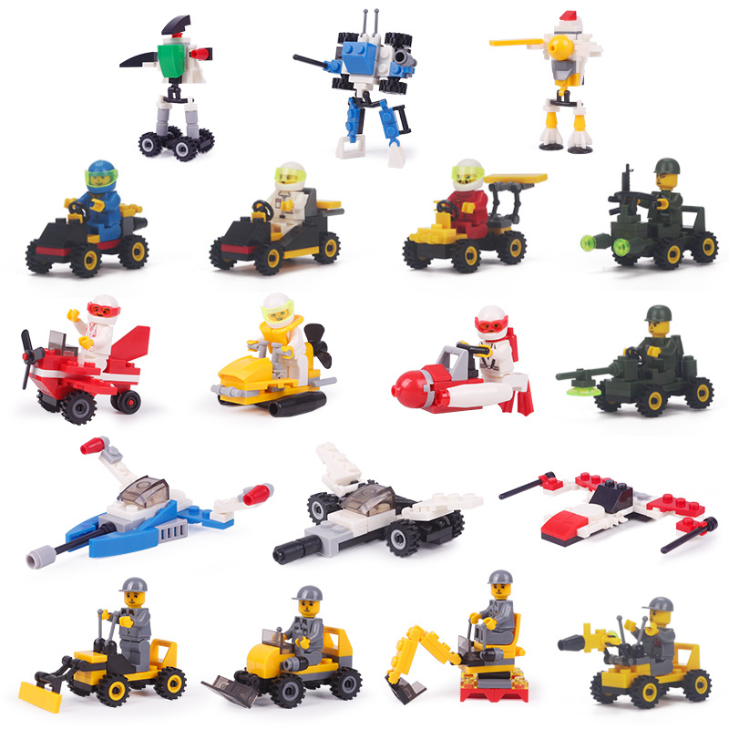 Mini Series Childrens Assembly Learning and Educational Small Granule Building Car Racing Car Prowl Car Robot Bulldozer