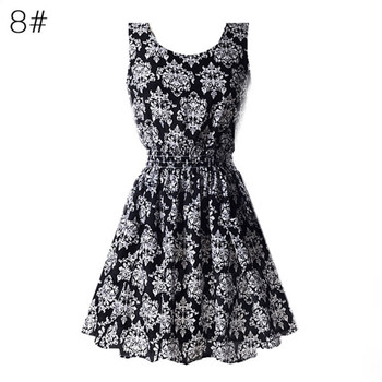 Tank Chiffon Beach Sleeveless T-shirts Floral Dress