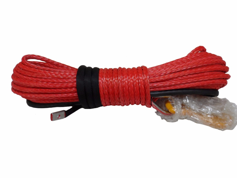 Red 10mm*30m Synthetic Rope,Boat Winch Rope,3/8 x 100 Winch Cable,Off Road Rope