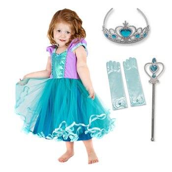 11fd6f7f3 De moda de algodón forro princesa ropa de verano para niños niña nieve  blanco Ariel Sofía fiesta ...