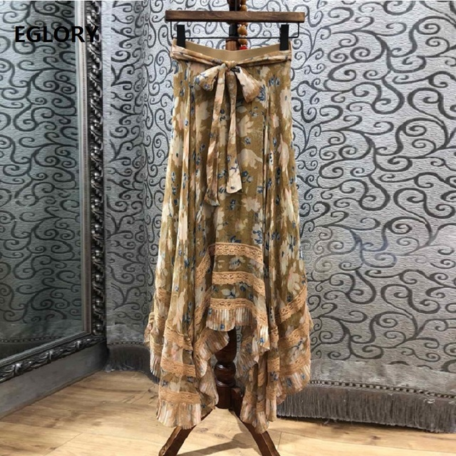 100%Silk Long Skirts 2019 Spring Summer Casual Part Long Maxi Skirt Women Vintage Print Lace Patchwork Bow Belt Skirt Beach