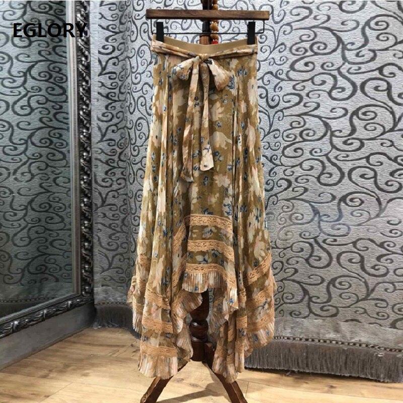 Y Largo Arco De Falda Cinturón Verano Parte 2019 Vintage 100 Faldas Casuales Playa Mujeres Maxi Seda Primavera Encaje UxZzwdY
