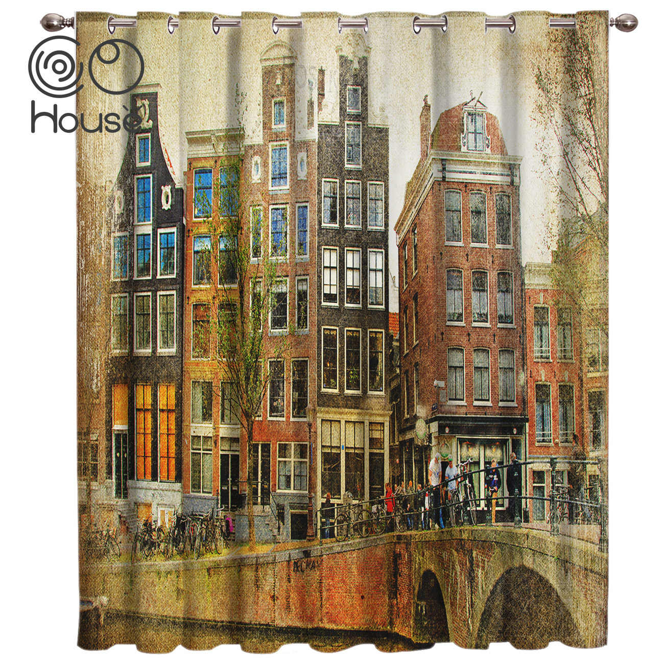 COCOHouse Amsterdam Netherlands European Vintage Living Room Curtains Blackout Bedroom Drapes Floral Curtain Panels With Grommet