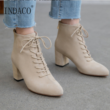 Winter Boots Women Lace Up Leather Fashion Ankle for 5cm