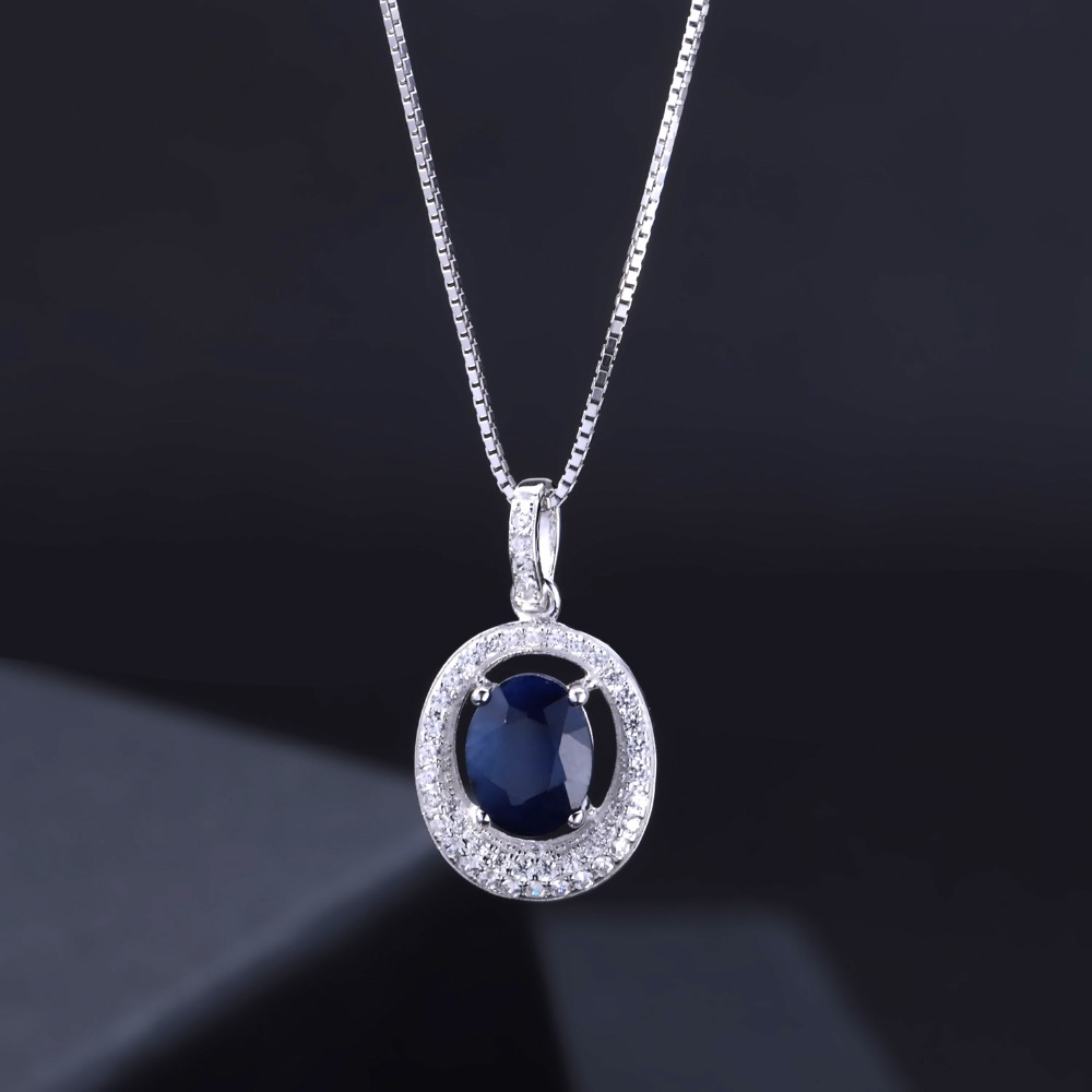 Image 2 - GEMS BALLET 3.24Ct Oval Natural Blue Sapphire Classic Pendant  Necklace 925 Sterling Silver Gemstone Fine Jewelry  for WomenPendants