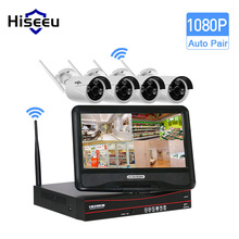 Hiseeu 1TB HDD 10 Inch Displayer 4CH 1080P Wireless CCTV System Wireless NVR 4PCS IP Camera Bullet Home Security System CCTV Kit