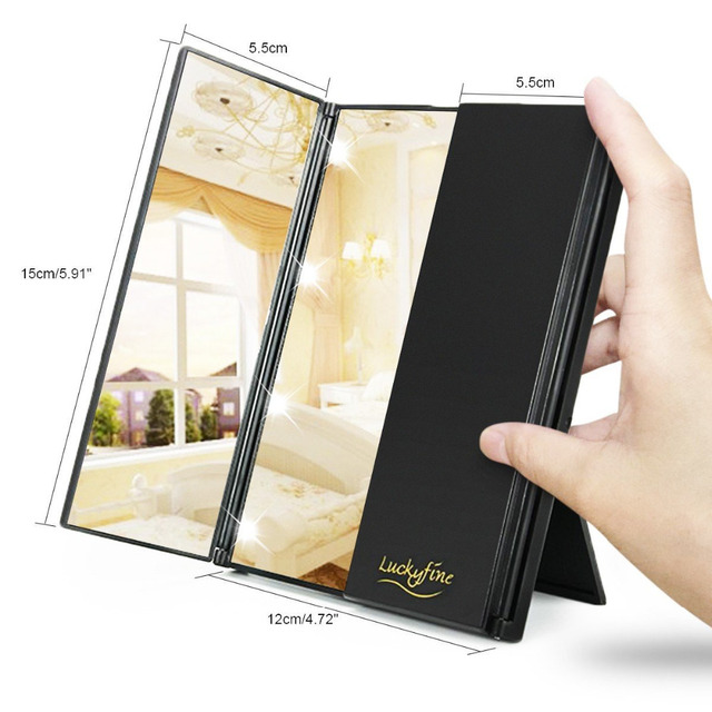 Tri-Fold Makeup Mirror with LED Light Portable Travel Compact