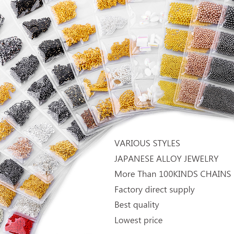6Pcs/Pack Mixed Chain Japanese Korea Gold Silver Metal Nail 3d Art Decorations Jewelry new arrive