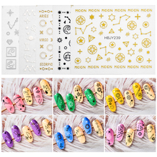 T-TIAO CLUB 8Pcs/Lot Moon Star Heart Nail Stickers Mixed Constellation  Pattern 3D Manicure Sticker DIY Nail Art Decoration flamingo nail stickers animal series water decal ocean cat plant pattern 3d manicure sticker nail art decoration