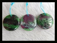 Natural Stone Sale 3pcs Round Shape Ruby And Zoisite Necklace Pendants 20 5mm 12 4g