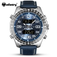 INFANTRY Military Watch Men LED Digital Quartz Mens Watches Top Brand Luxury 2018 Army Pilot Marine Blue Nylon Relogio Masculino