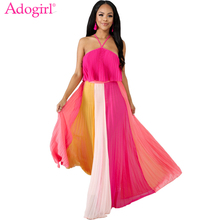 Adogirl Contrast Color Ruffle Strapless Halter Ruched Maxi Dress Loose Casual Long Summer Beach Women Bohemian Dresses