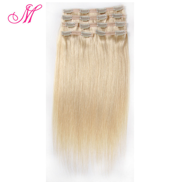 7pcs/Set Clip In Human Hair Extensions 100g/Set #613 Blonde Virgin Hair Remy Brazilian Virgin Hair Clip In Extension Full Head