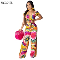 Bow V Neck Wide Leg Pants Rompers Womens Jumpsuit Flower Sexy One Piece Overalls Loose Cut Out Hole Front Summer Mono Mujer
