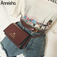 Anreisha Fashion Women Waist Bag High Quality PU Leather Waist Pack For Female Girl Travel Belt