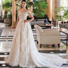 Vestidos De Novia 2019 New Design Chapel Train A Line Wedding Dress Elegant Sleeveless Lace Appliques Tulle Bridal Gown