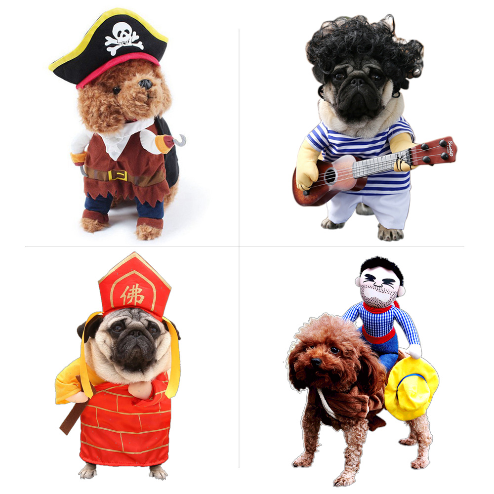 funny pet costume dog clothes cat apparel halloween outfit cowboy policeman boxer doctor nurse style drop ship in cat clothing from home garden on