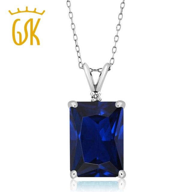 Gemstoneking 10.02 ct esmeralda cut azul simulado zafiro y diamante blanco de plata de ley 925 colgante de collar