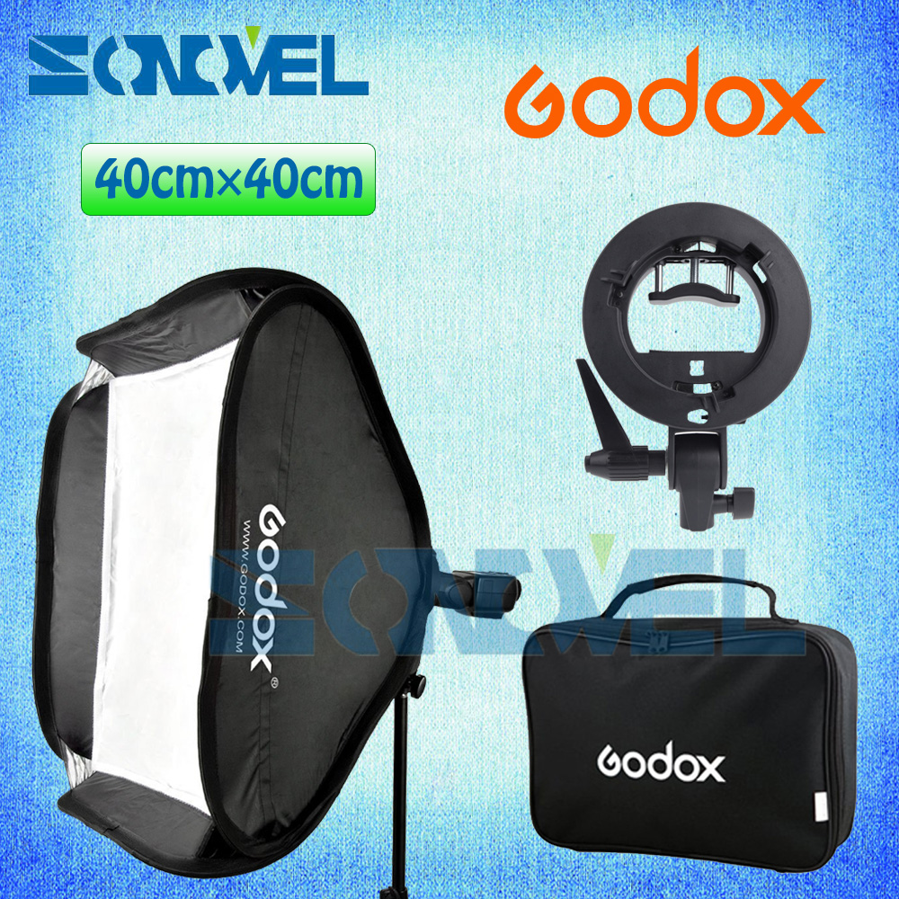 Godox 40x40cm 15 * 15 Softbox Kit Flash Diffuser + S-type Bracket Bowens Holder for Speedlite Flash Light 40*40 cm Soft box