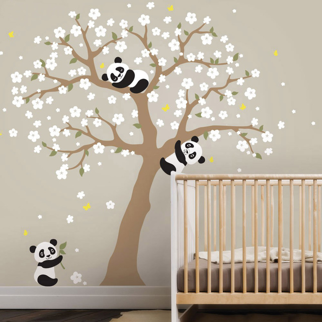 Cute Panda and Cherry Blossom Tree Animals Removable Vinyl Wall Stickers Nursery Art Decals PVC Poster Baby Kids Room Home Decor