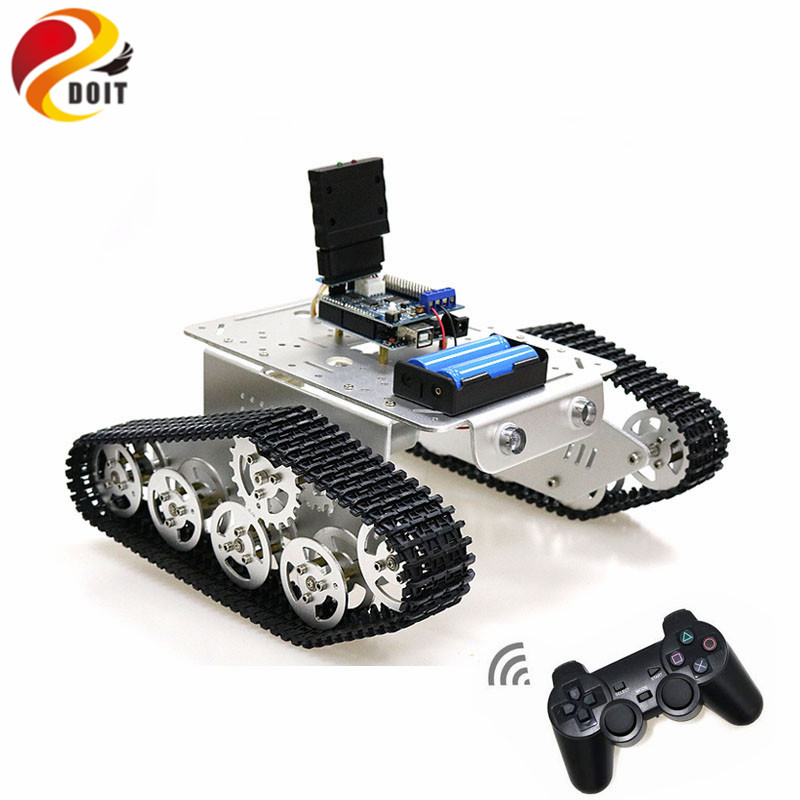 T300 Handle/Bluetooth/WiFi RC Control Robot Tank Chassis Car Kit for Arduino with UNO R3, 4 Road Motor Driver Board, WiFi Module doit rc metal robot tank chaiss t300 wireless wifi car with esp8266 development board kit remote control page 4