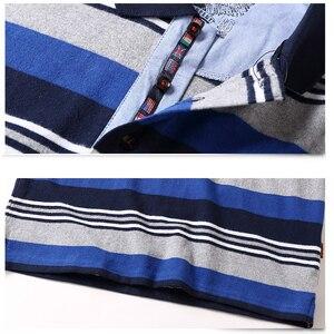 Image 5 - 남자 긴 소매 폴로 셔츠 큰 크기 스트라이프 스탠드 칼라 코 튼 폴로 셔츠 캐주얼 망 옷깃 탑 셔츠 수 놓은 티 5XL