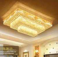 New S gold crystal ceiling lamp rectangular double crystal lamp LED living room lamps ceiling lamps lighting fixture led lights