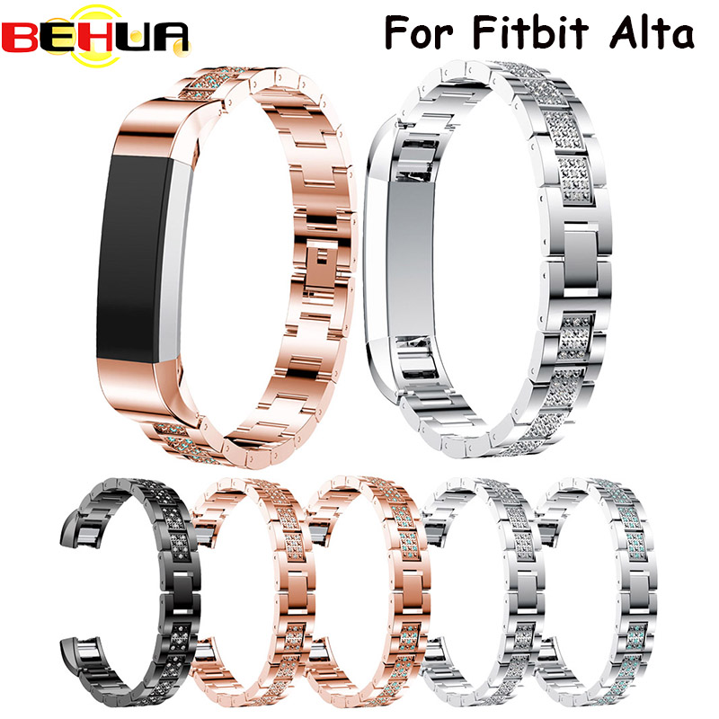 2017 High Quality Watch Strap band with Rhinestone Stainless Steel Watch Bracelet Band Strap For Fitbit Alta Correas de reloj