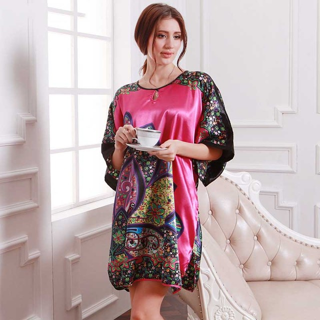 Special offer vintage women nightwear floral pattern silk robe summer  sleepdress western ladies large size female 252b2faf0
