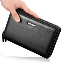 Hot Brand Men's Clutch Bag High Capacity Split Leather Wallets/ 2 Fold Business Card Holder Coin Purse/ Double Zipper Wallet