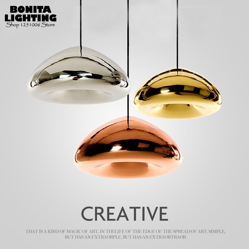 Modern plating Copper Silver Golden Space flying saucer led hanging lamp England Tom Dixon Design pendant lighting glass