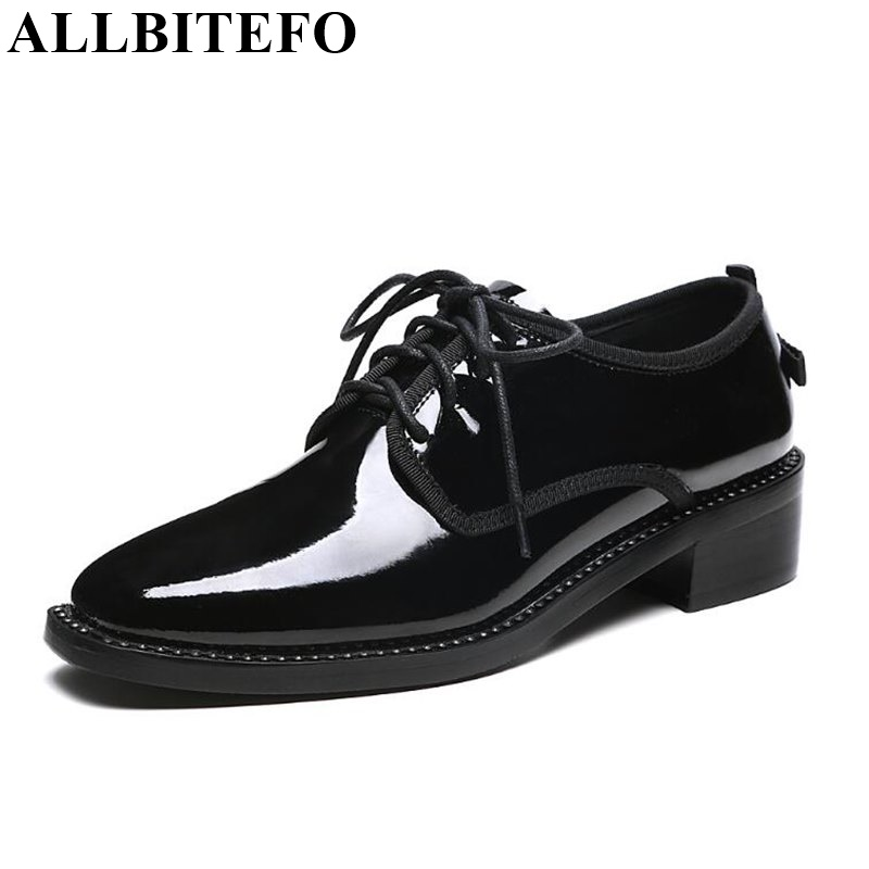 ALLBITEFO square toe full genuine leather thick heel women pumps fashion brand Medium heel casual shoes woman sapatos femininos цена 2017