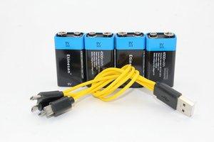 4 шт. Etinesan 9V 4500mWh литий-ионные литий-полимерные аккумуляторы + usb-кабель для зарядки