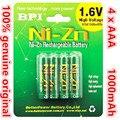 4 unids/lote original nuevo bpi aaa 1000 mah 1.6 v 1.5 v ni-zn ni zn nizn aaa baja auto-descarga de la batería recargable 1.5 v
