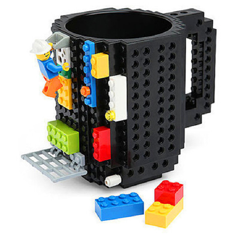 1Pc 12oz Build-On Brick Mug Type Building Blocks Coffee Cup DIY Block Puzzle Mug Portabl ...