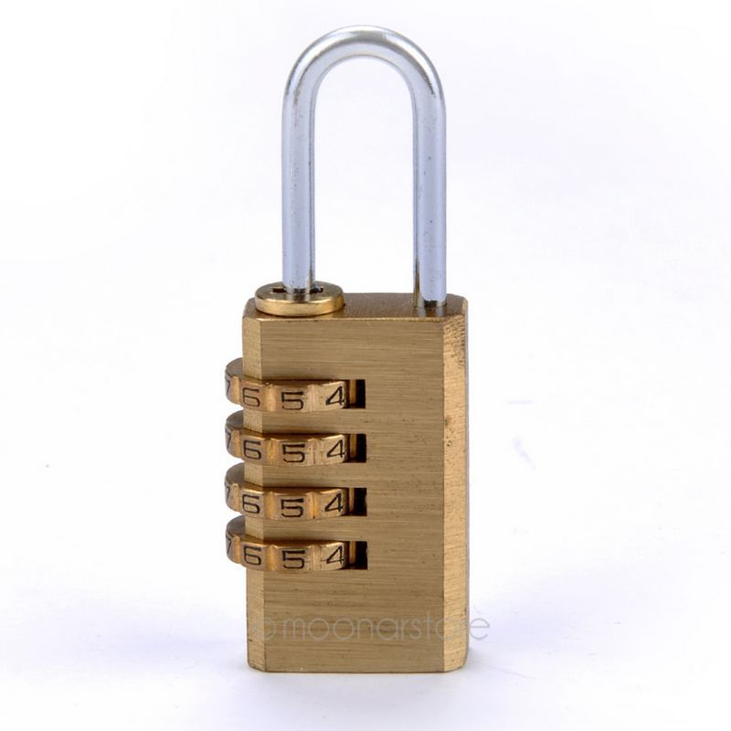 New 4 Digit Metal Gold Combination Lock Password Number Security Plus Padlock for Travel Luggage Security 8