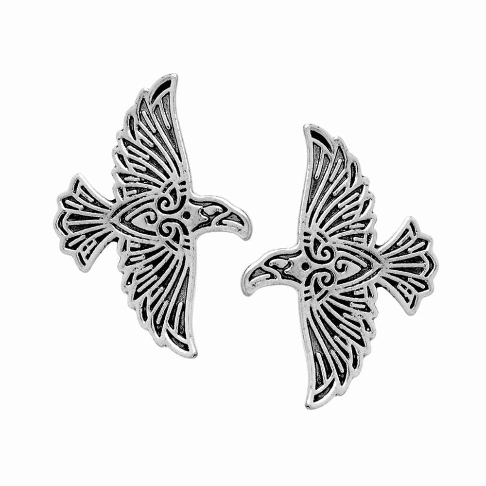 1~2pcs Viking Flying Raven Pin Norse Crow Medieval Silver Bronze Coat Cloak Brooch Pins Retro Vintage Jewelry for Men Gift line art