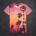 New Palm trees silhouetted by bright pink sunset sky 3D Print T-shirt Cotton Unisex Summer Tee Shirts Teen Fans Loose Homme Tops
