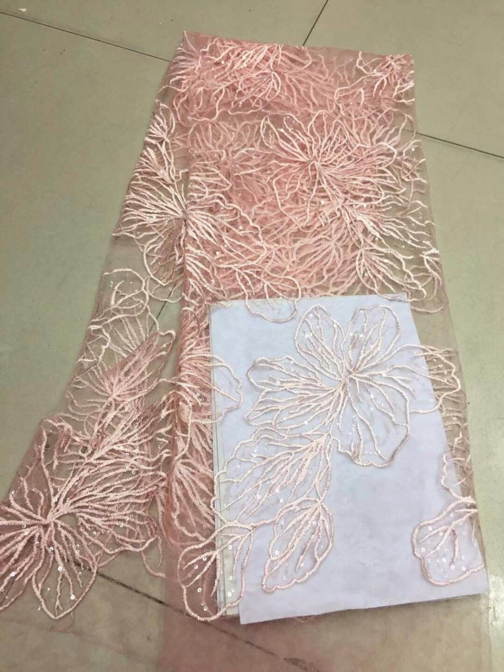 Lovely Latest African Lace Fabric 2018 Blush Pink Peach Embroidery Lace Fabric Bridal Wedding French Mesh