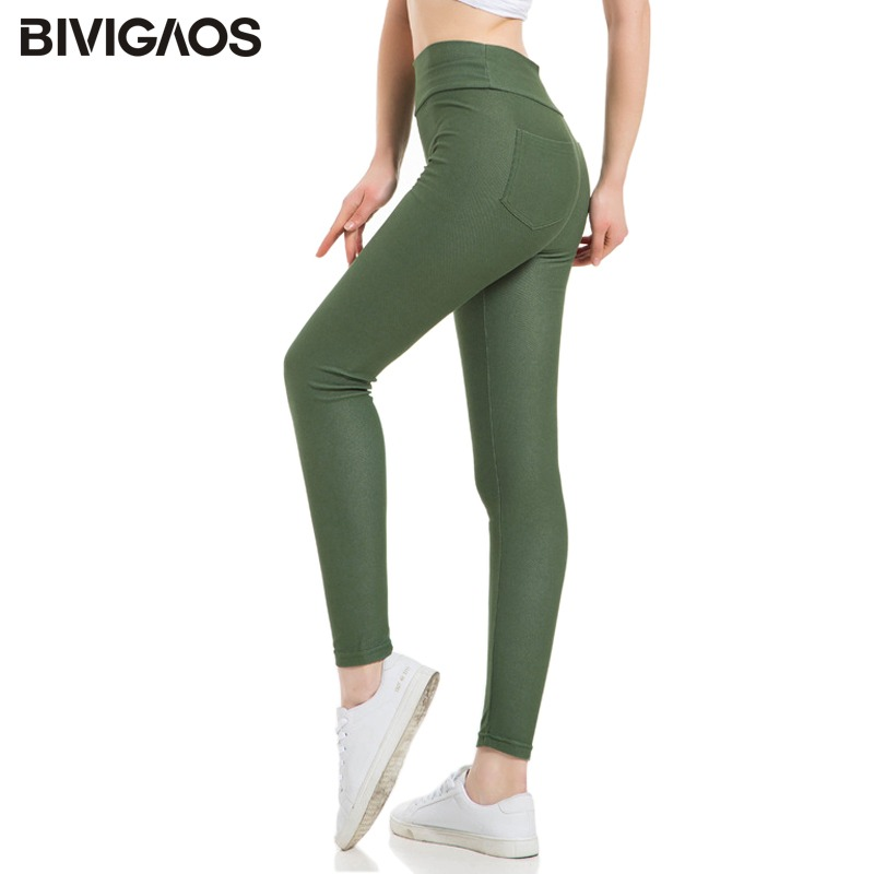 1f60668c361b9 BIVIGAOS 2019 Spring Multicolor High Waist Jeans Leggings Plus Size  Leggings Pencil Pants High Quality Jeggings