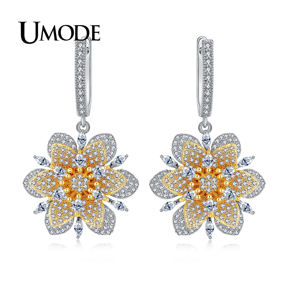 UMODE New Trendy Flower Dangle Earrings for Women Wedding Engagement Jewelry Fashion Boucle D'Oreille Gift Bijoux Femme UE0353
