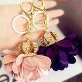 Korea crown flower car keychain rhinestone handmade pink purple grey flowers pendant car ornaments key ring