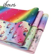 2Yards 3(75mm)  Diamond Grosgrain Gradual Ribbon Unicorn Cream Printed DIY Hair Bows Gift Wrapping Tape Handmade Materials