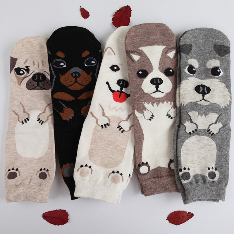 Elegant Creative Cute Animal Pug Women Cotton Socks Lovely Dog Jacquard Female Printing Tube Socks Funny Husky Floor Meias Soks