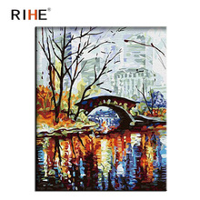 RIHE Bridge Diy Painting By Numbers Abstract City Park Oil On Canvas Cuadros Decoracion Acrylic Wall Picture For Room