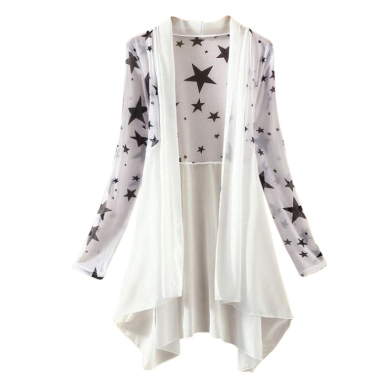 2018 Women Long Chiffon Blouse Shirts Womens Cardigan Sunscreen Shirts Floral Print Ladies Blouses Jackets D2