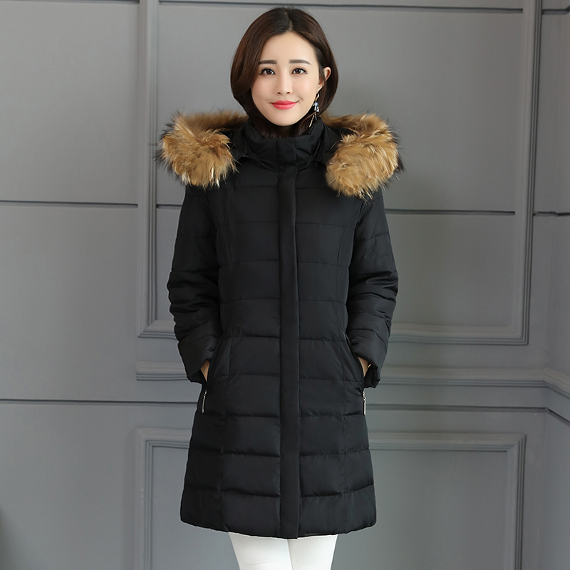 Winter Jacket Outerwear Fake-Fur-Collar Long Parkas Thicken Women New-Fashion Warm Female
