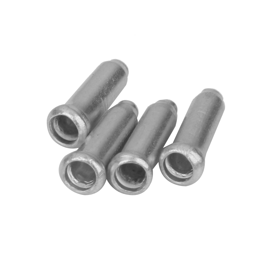 100 Pcs Road Mountain Bicycle Bike Brake Cable Cap End Tips  Crimp Aluminium Alloy Cycling Bicycle Parts 3mm Diameter Silver